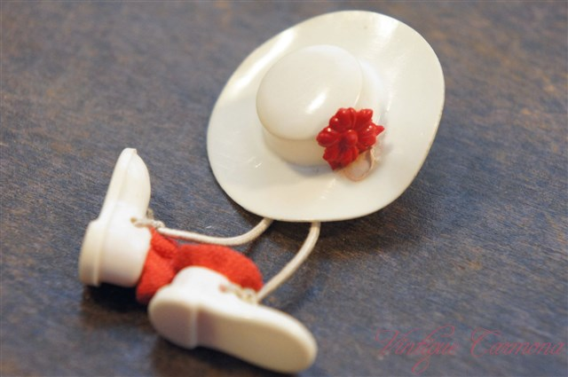 Hat & Shoes Motif Celluloid Brooch