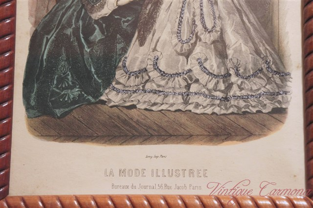 【LA MODE ILLUSTREE】 1950s Reproduction in Wood Frame