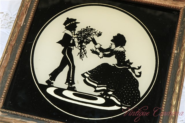 Silhouette Picture Frame : Lady and Boy