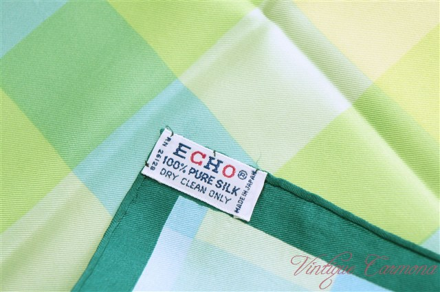 【Echo】 Check Print Silk Scarf
