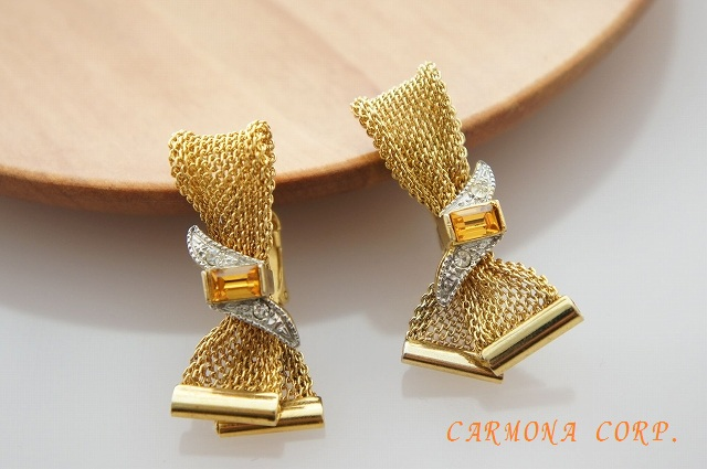 【EMMONS】 Gold Color Mesh Metal Earrings