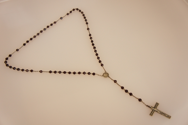 Glass Beads x Silver Rosary : Dark Red