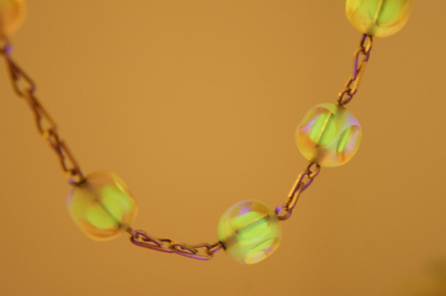 Bi Color Uranium Glass Beaded Necklace