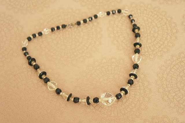 ART DECO Black & Clear Necklace