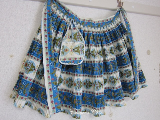 Pleated Cafe Apron (flowers & Stripes)