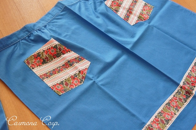 Handmade Blue and Flower Print Cafe Apron