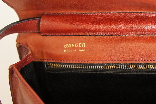 【JAEGER】 Made In Italy Brown Leather Shoulder Bag